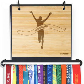 Engraved Bamboo BibFOLIO Plus Race Bib and Medal Display Pride Is Forever Female