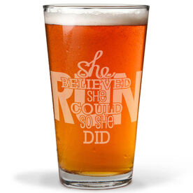 Running 16 oz Beer Pint Glass She Believed She Could