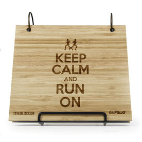 Engraved Bamboo Wood BibFOLIO® Race Bib Album - Keep Calm Run On
