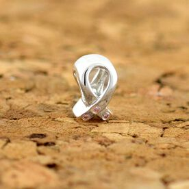 Sterling Silver Pink Crystal Ribbon Large Hole Bead