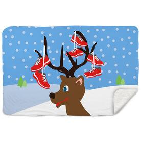 Running Sherpa Fleece Blanket - Reindeer Running Shoes