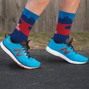 Running Printed Mid-Calf Socks - Chicago Skyline