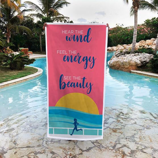 Running Premium Beach Towel - Hear the Wind