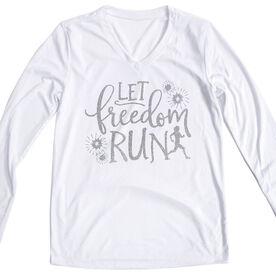 Women's Long Sleeve Tech Tee - Freedom Run (Glitter)