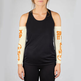 Running Printed Arm Sleeves - Suck It Up Buttercup