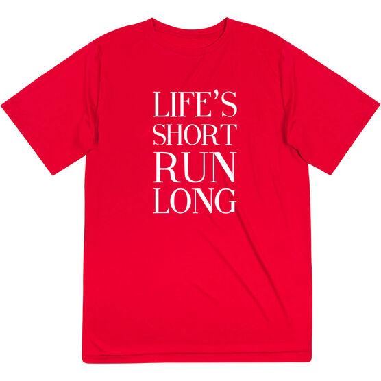 Men's Running Short Sleeve Tech Tee - Life's Short Run Long (Text)
