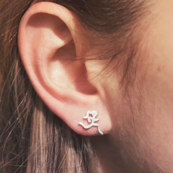Sterling Silver Mini Running Stick Figure Post Earrings