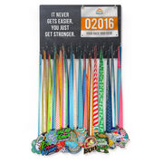Running Large Hooked on Medals and Bib Hanger - Customize Me Quote