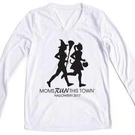 Women's Running Long Sleeve Tech Tee - Moms Run This Town Halloween (2017)