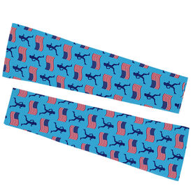 Running Printed Arm Sleeves - Female Runner And Usa Flag Pattern