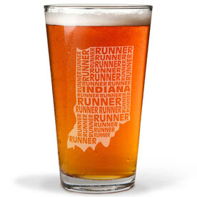 20 oz Beer Pint Glass Indiana State Runner