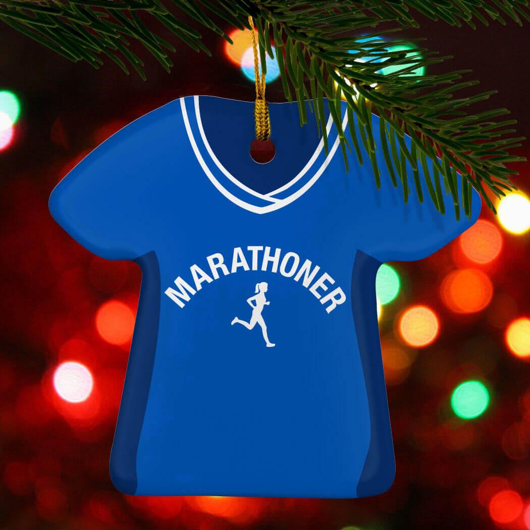 Marathon Gifts - Custom Bib Shirt Porcelain Ornament