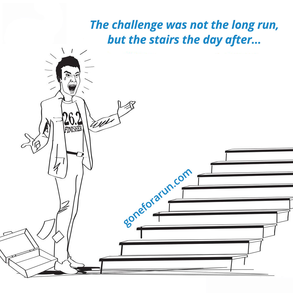 Run Cartoon - The challenge was not the long run, but the stairs the day fter...