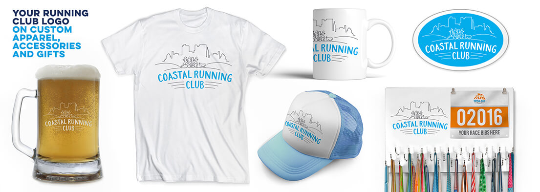 Your Running Club Logo on Custom Apparel, Accessories and Gifts