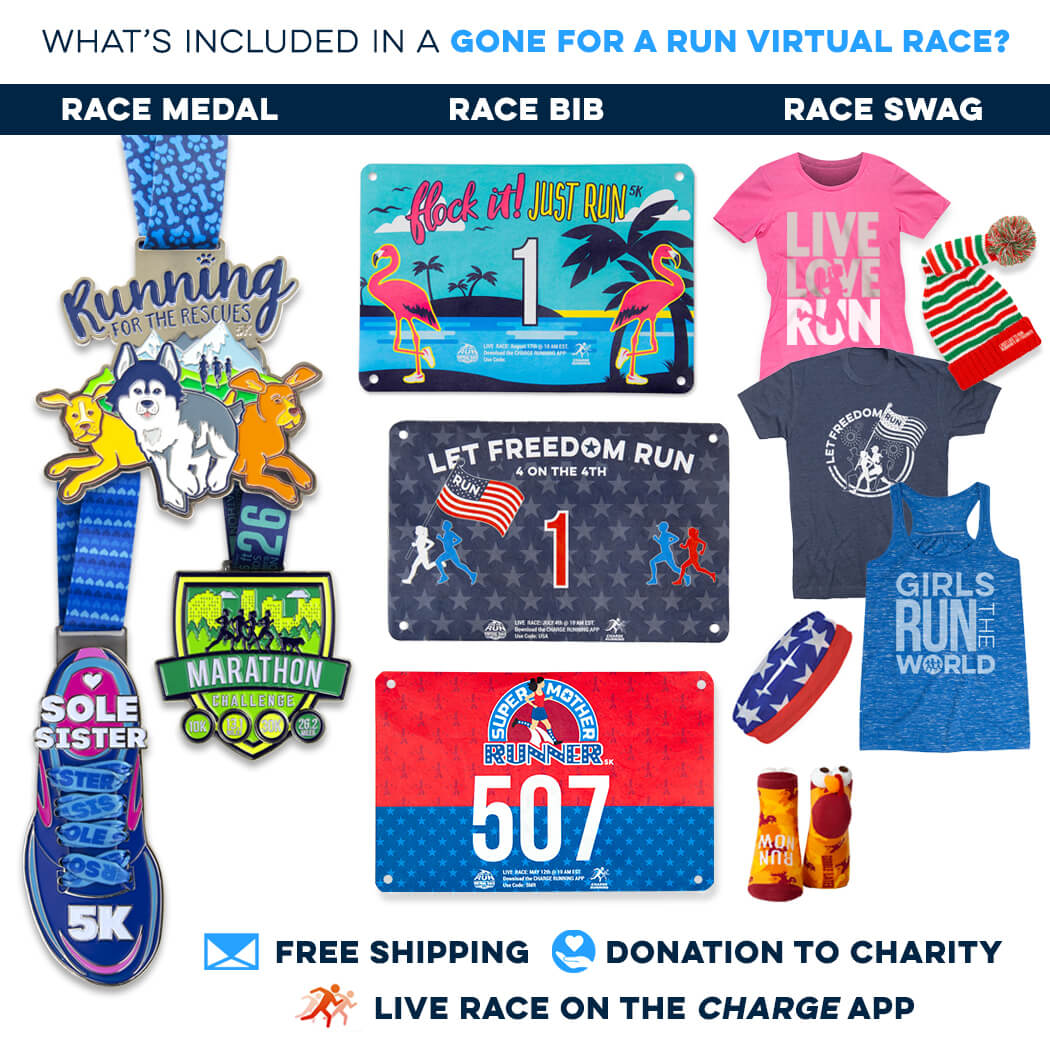 Here's what's included: race medal, race bib & race swag.