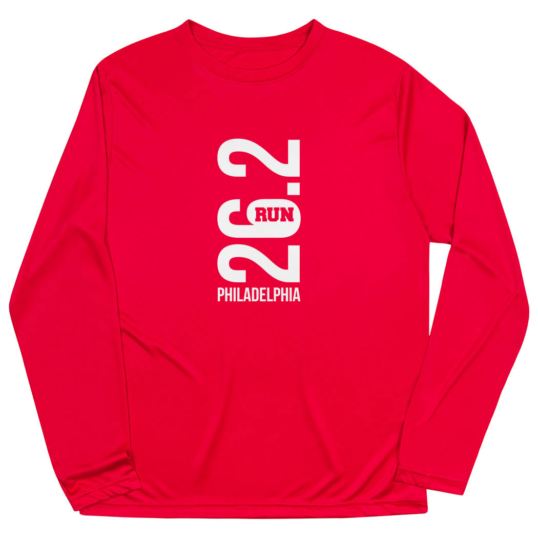 Men's Running Long Sleeve Tech Tee - Philadelphia 26.2 Vertical