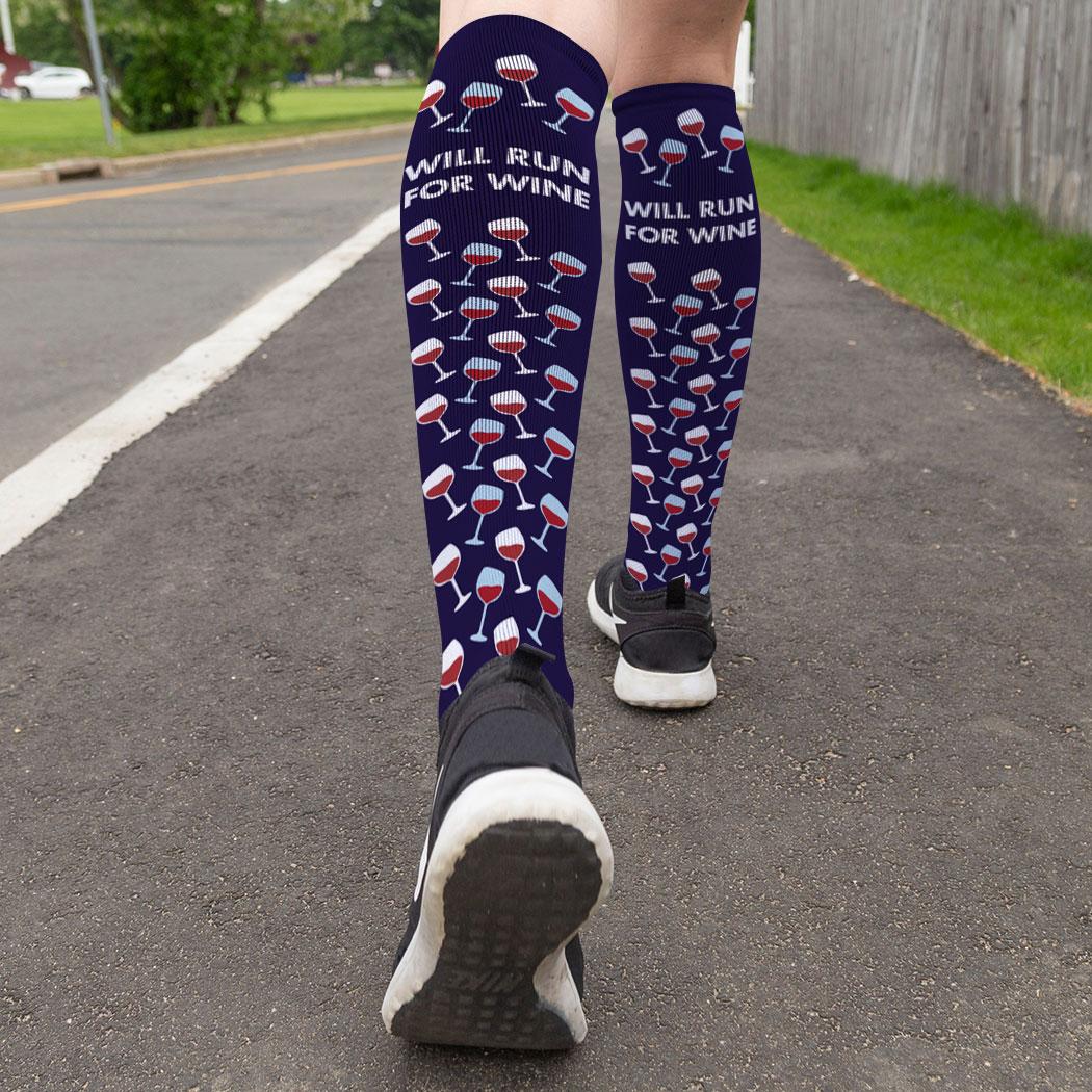 7a930057cdb ... Running Printed Knee-High Socks - Will Run For Wine ...