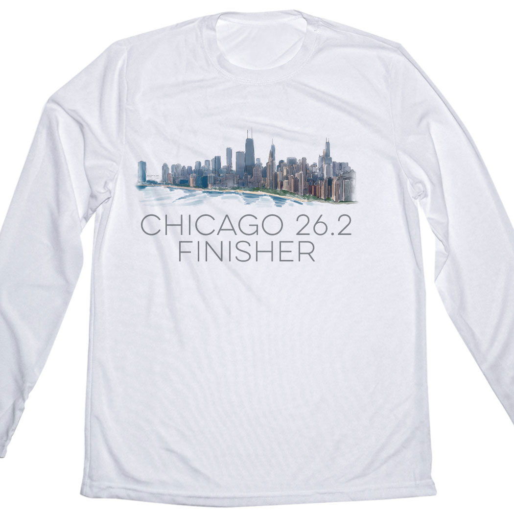 Running Mens Customized White Long Sleeve Tech Tee Chicago Sketch
