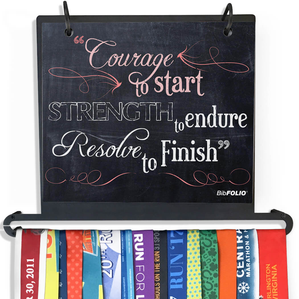 BibFOLIO+™ Race Bib and Medal Display - Chalkboard Courage to Start - Personalization Image