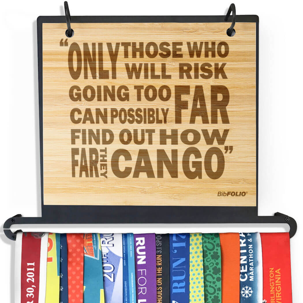 Engraved Bamboo BibFOLIO+™ Race Bib and Medal Display Only Those Willing