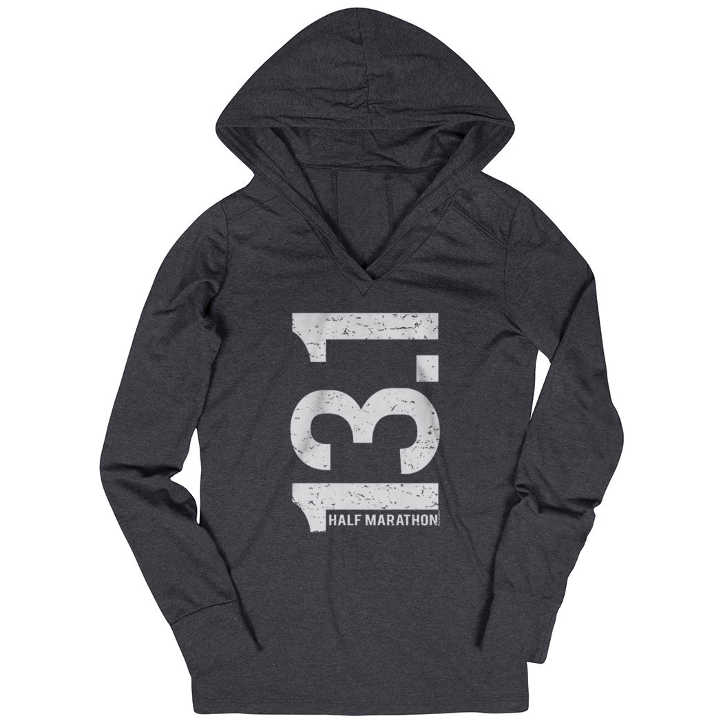 Women's Running Lightweight Performance Hoodie 13.1 Half Marathon Vertical