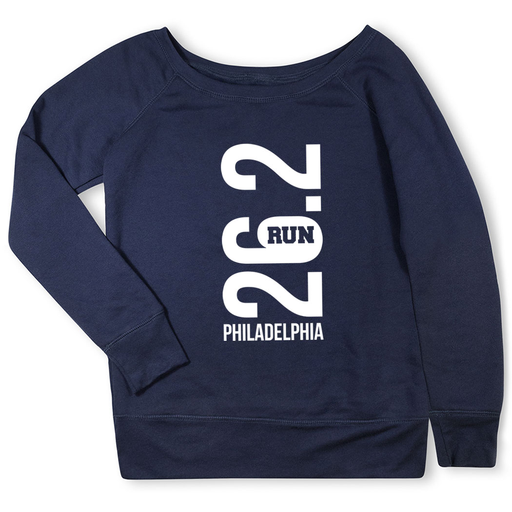 Running Fleece Wide Neck Sweatshirt - Philadelphia 26.2 Vertical