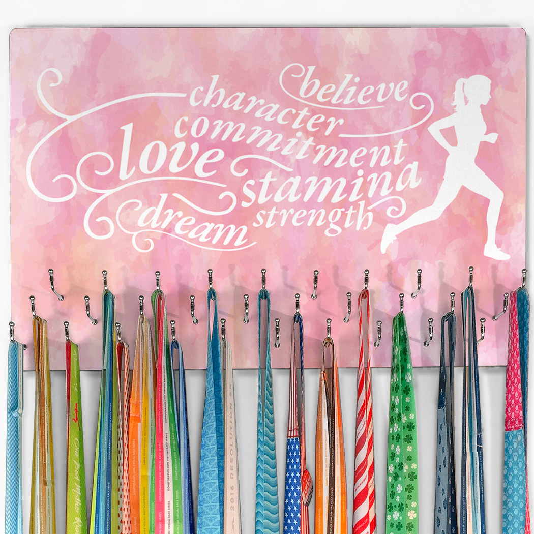 Running Large Hooked on Medals Hanger - Words to Run By