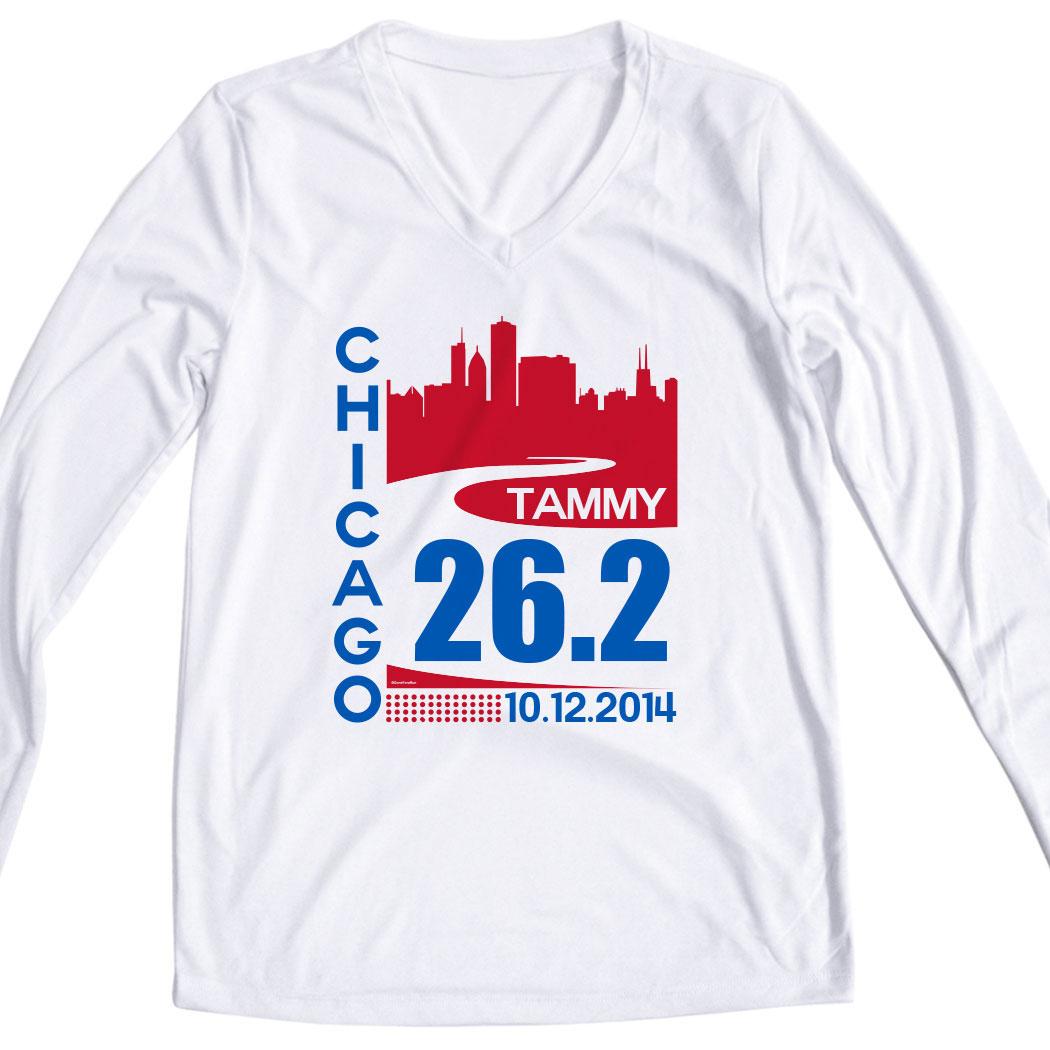 Womens Customized White Long Sleeve Tech Tee Chicago 262