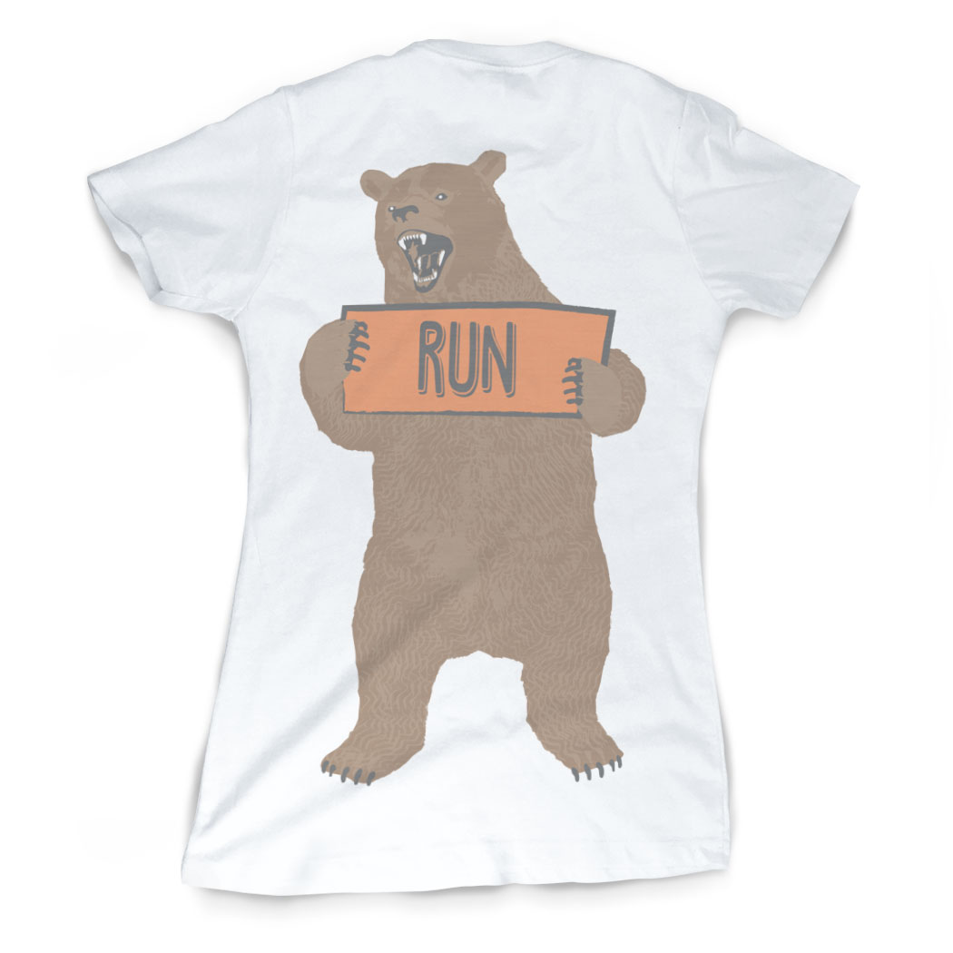 Vintage running fitted t shirt trail bear gone for a run for T shirt printing nyc same day