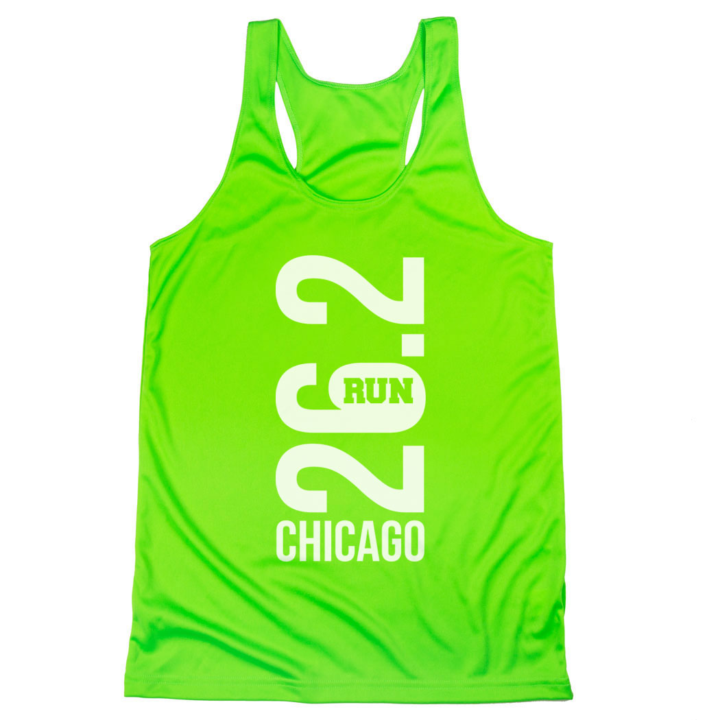 Women's Racerback Performance Tank Top - Chicago 26.2 Vertical
