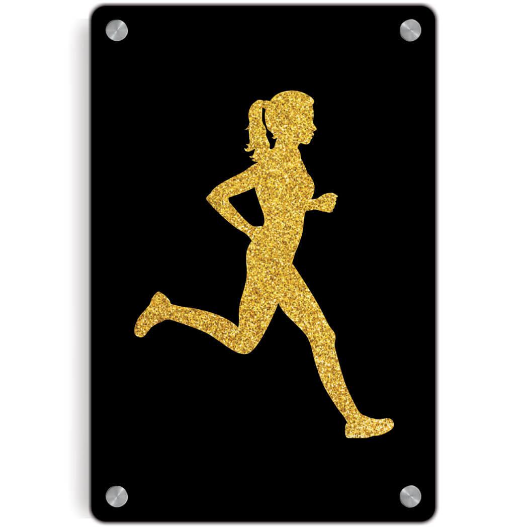 Running Metal Wall Art Panel - Runner Girl Faux Glitter | Gone For a Run