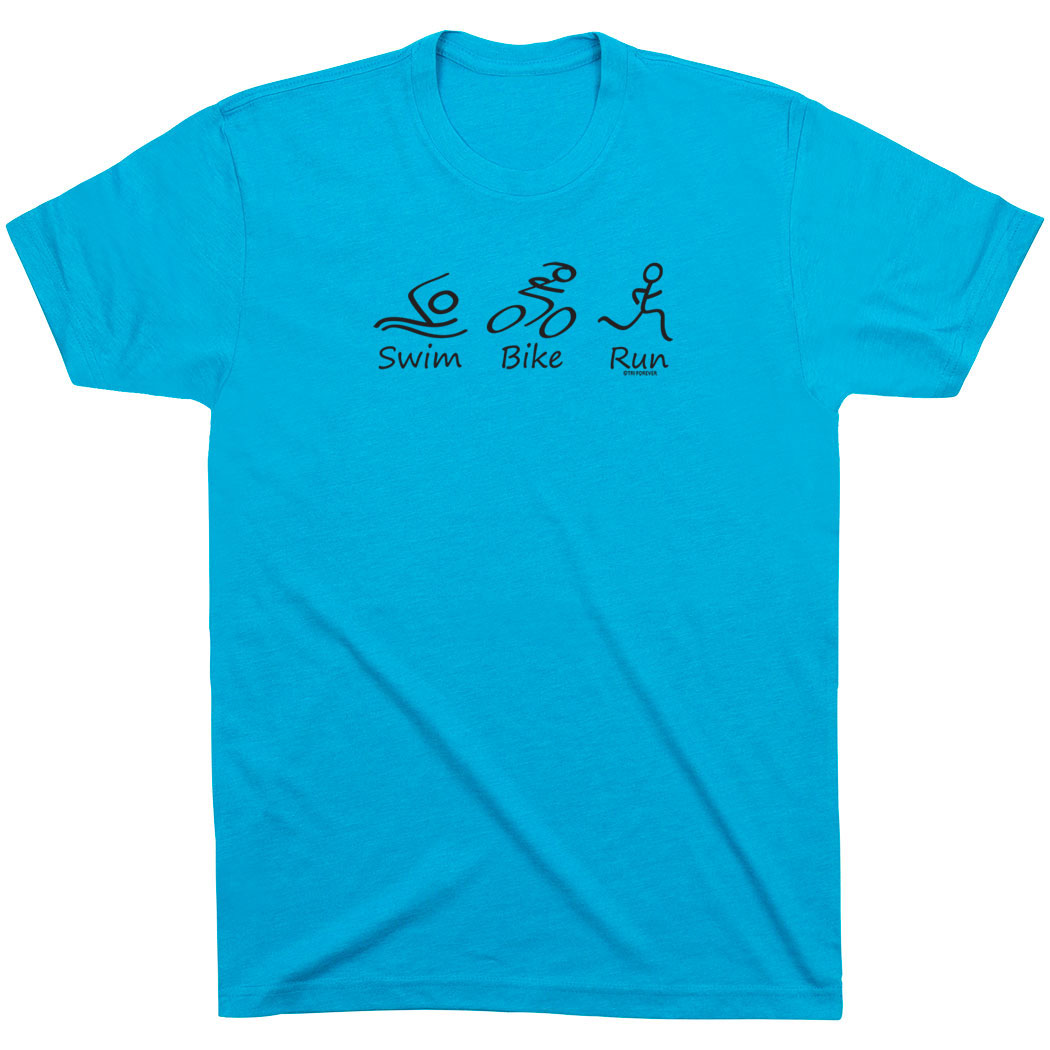 Triathlon Short Sleeve T-Shirt - Swim Bike Run Black Stick Figure with Words