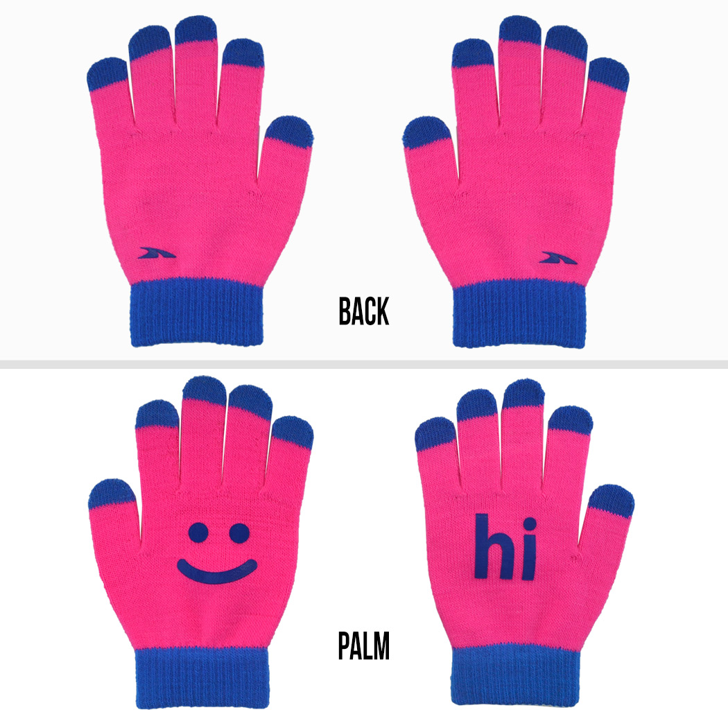 b8160b0a4 Running Gloves with Touchscreen Fingers - Pink/Blue Hi Bye