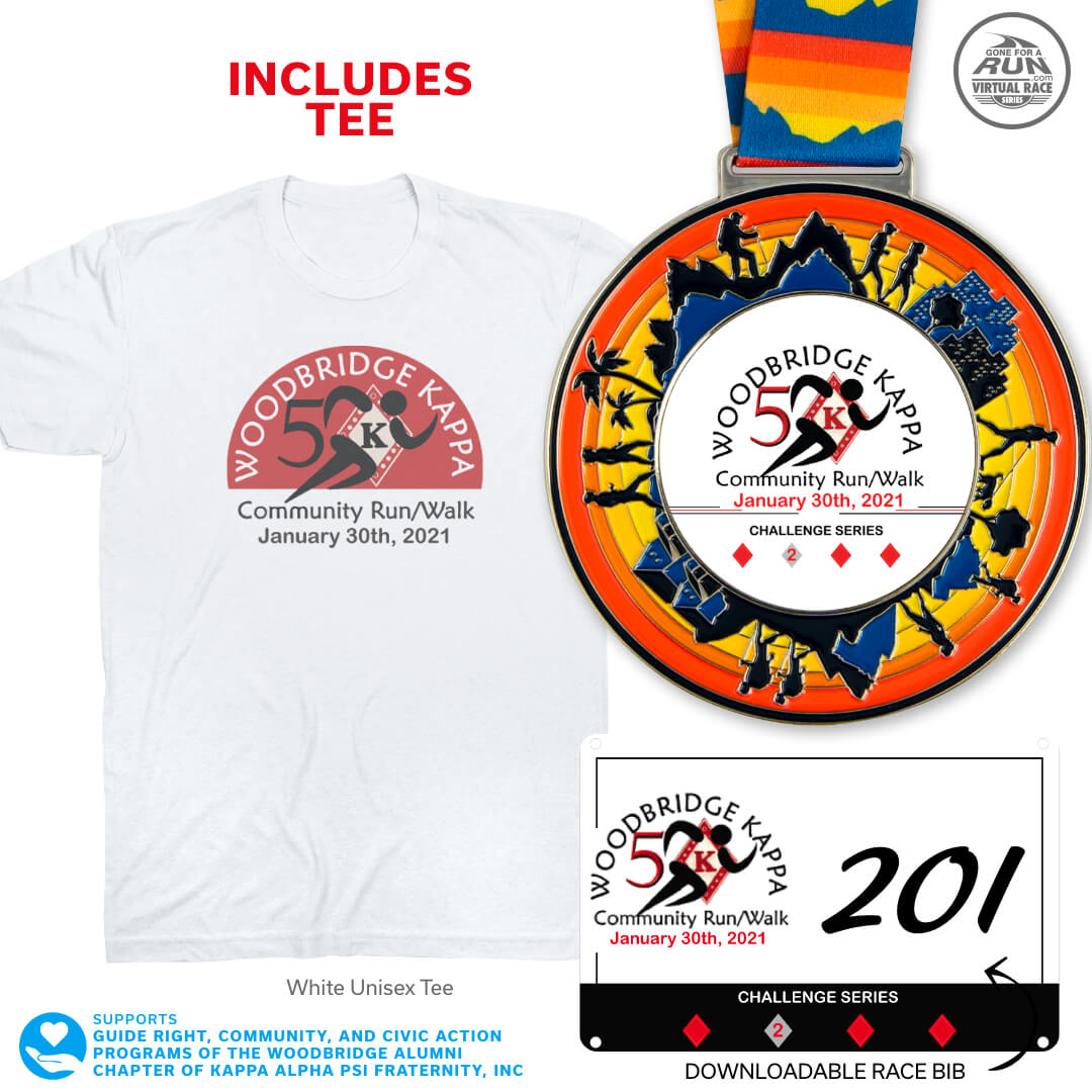 Virtual Race - Woodbridge Kappas 5K Run/Walk - Challenge 2 (2021)