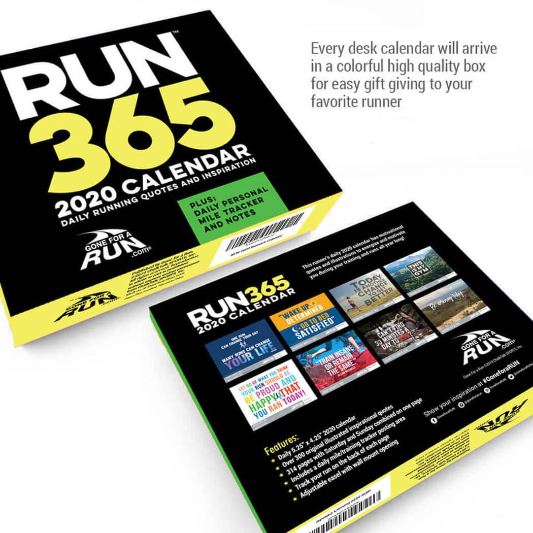Running Calendar 2020 Inspirational Runner's 2020 Daily Desk Calendar