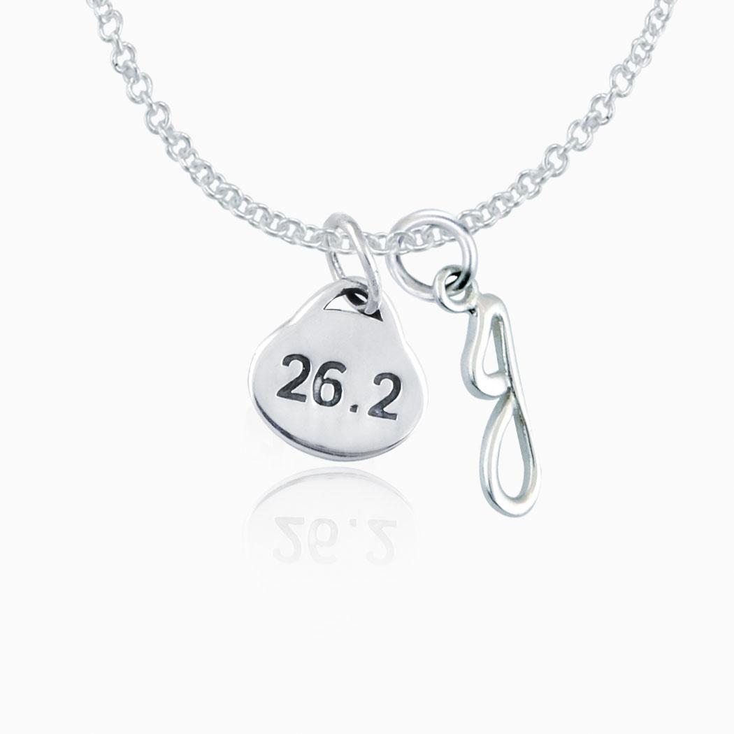 Sterling Silver 26.2 Marathon Oval Pendant Necklace ...