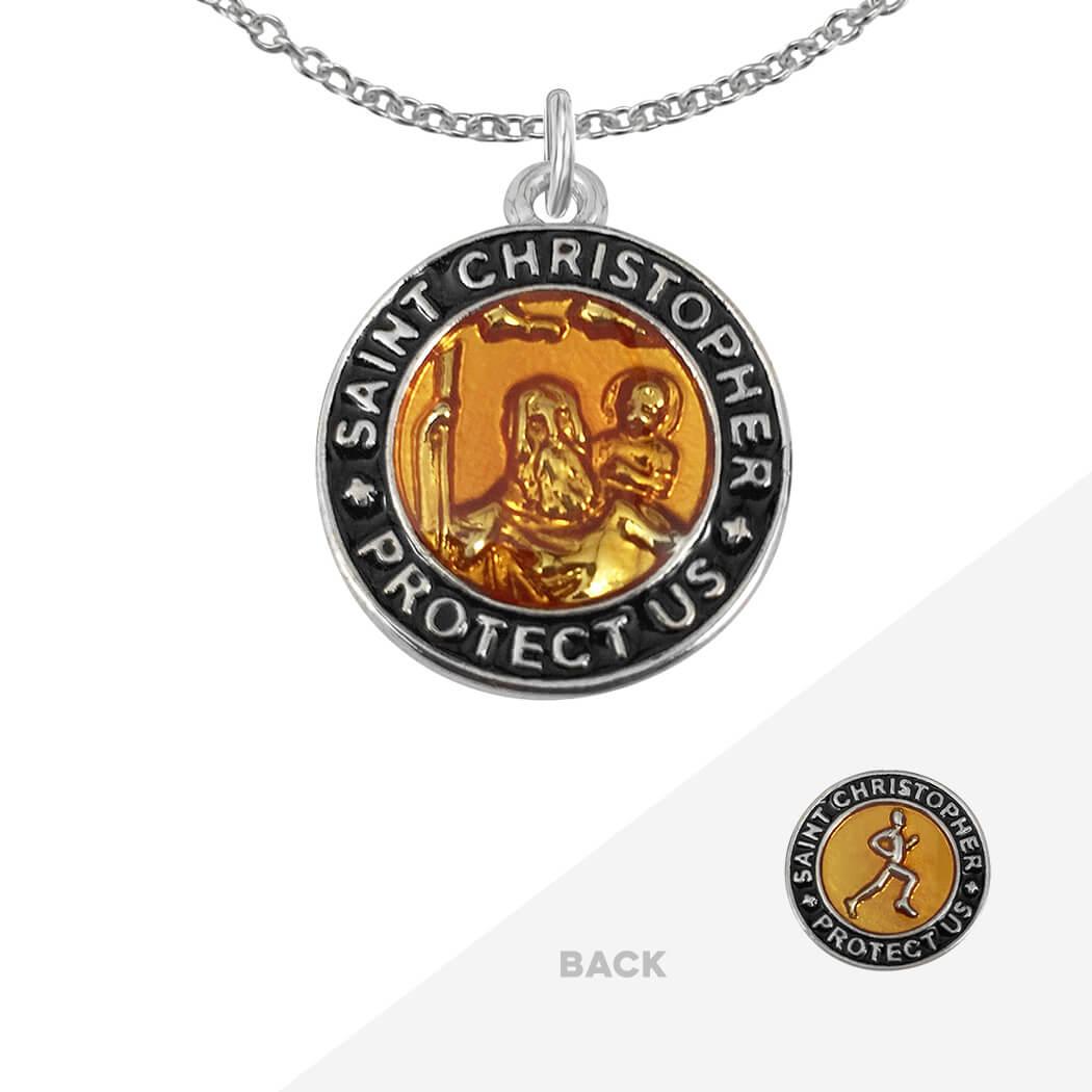 St christopher runner necklace runners st christopher medal necklace orangeblack 19cm aloadofball Gallery