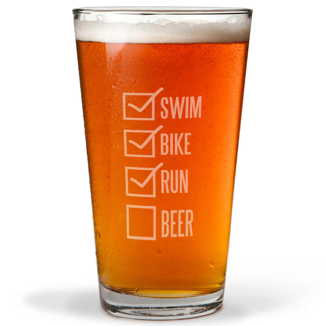 Swim Bike Run Checklist 16 oz Beer Pint Glass
