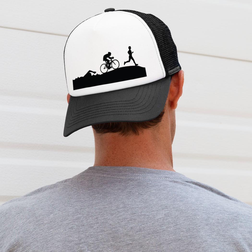 f750d1248b2 ... Triathlon Trucker Hat Swim Bike Run Silhouettes