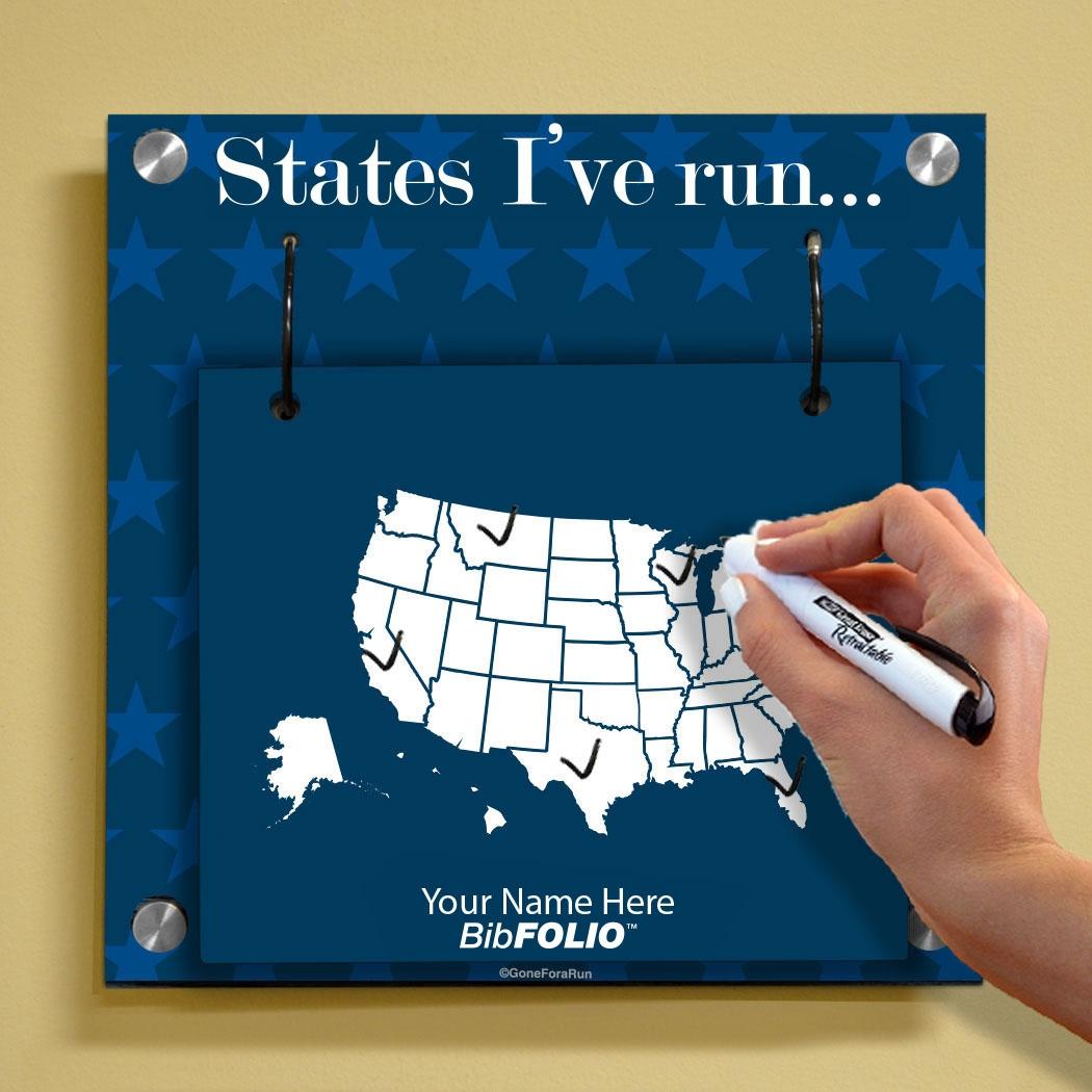 Run Usa Map.Dry Erase Running The Usa Map Wall Bibfolio Display Race Bib