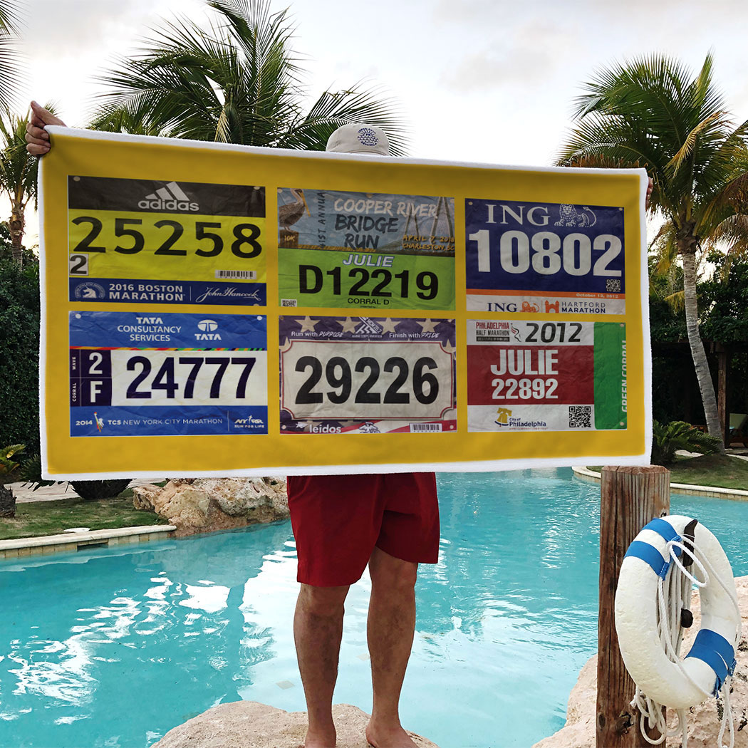 Running Premium Beach Towel - Your Race Bibs