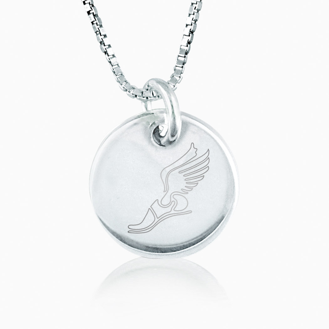 sterling silver winged foot engraved 16mm circle pendant