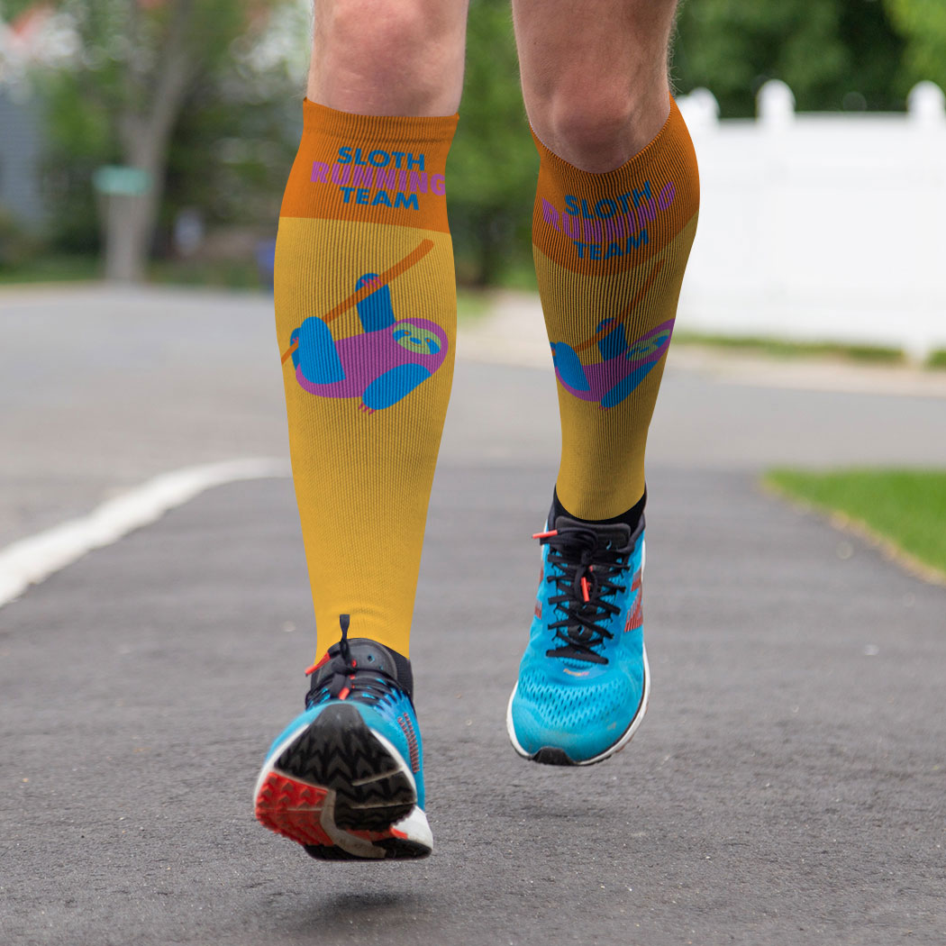 Running Printed Knee-High Socks - Sloth