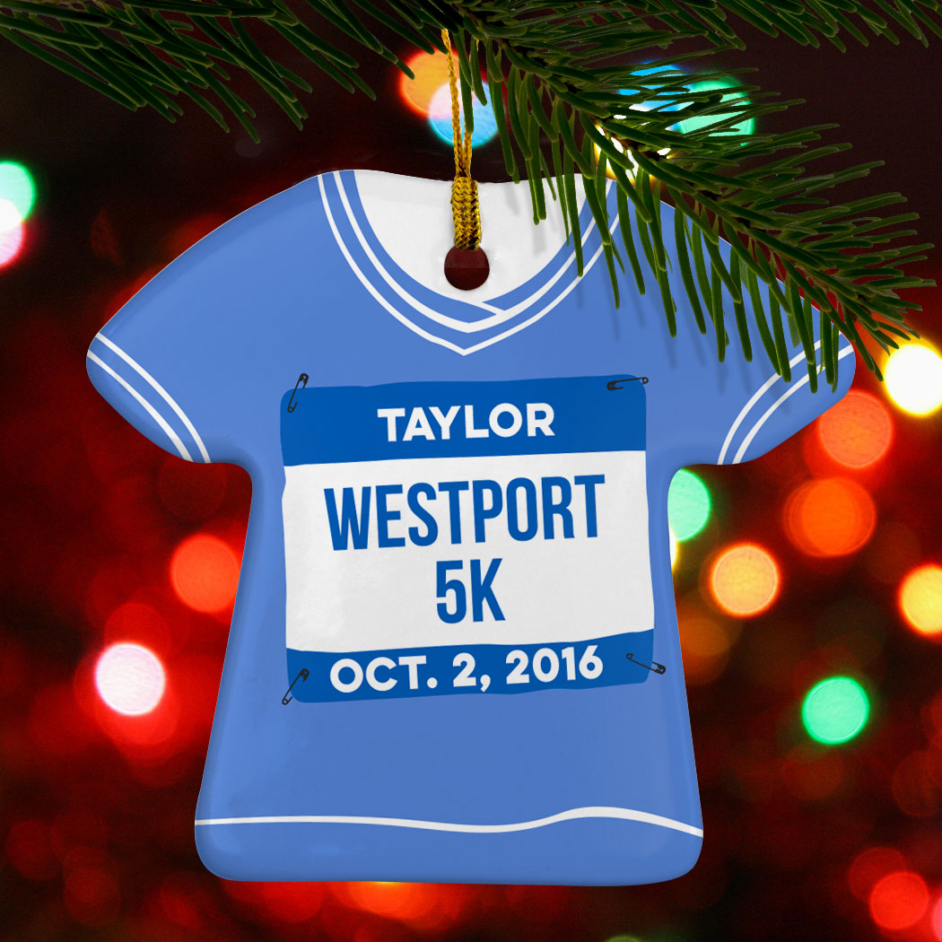 running porcelain ornament personalized my first 5k shirt running