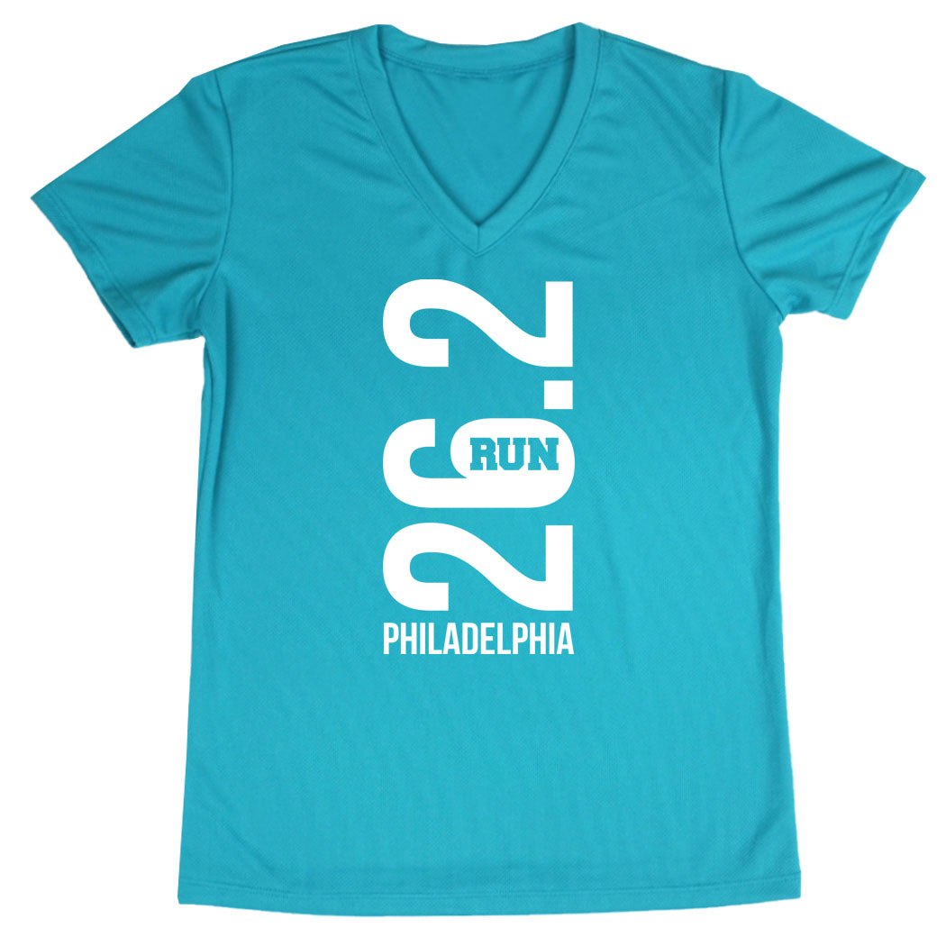 Women's Short Sleeve Tech Tee - Philadelphia 26.2 Vertical