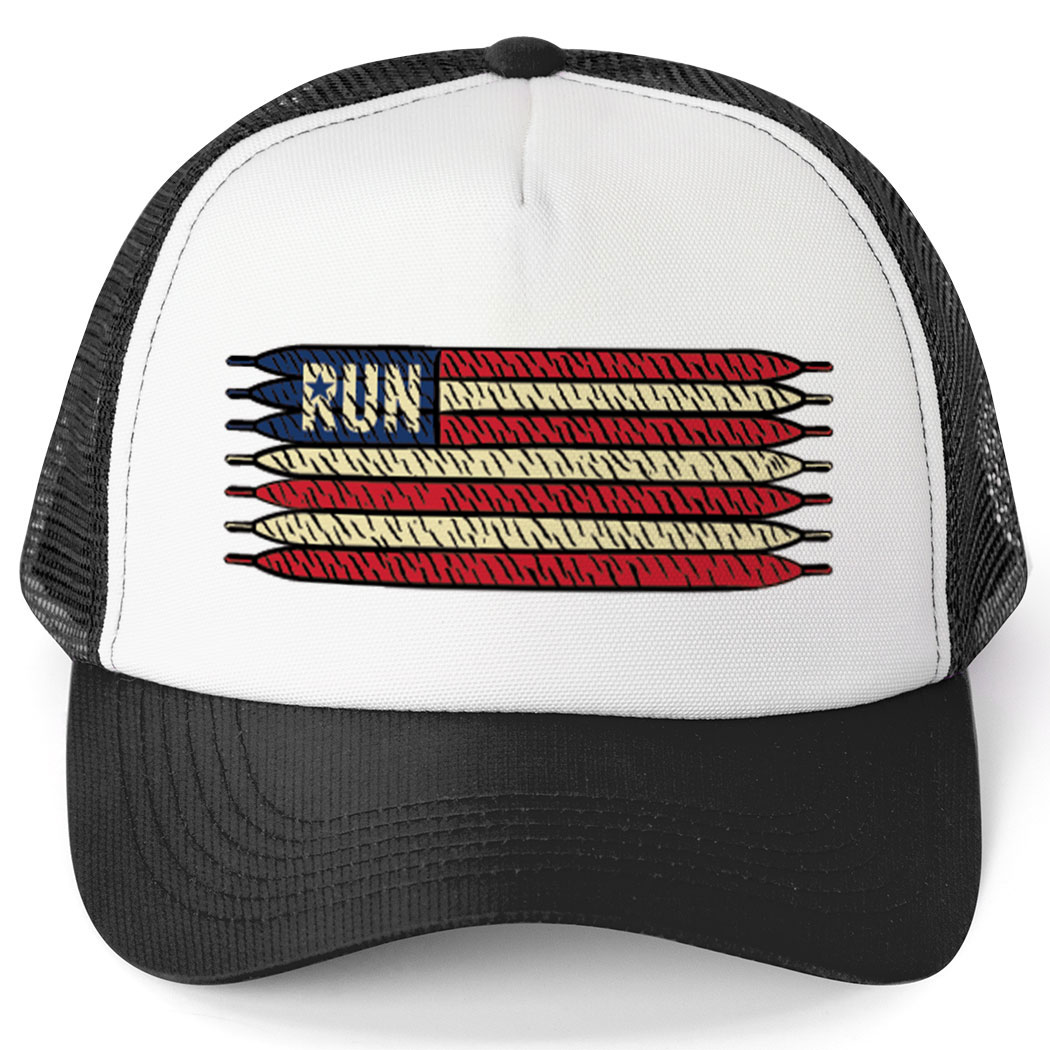 Running Trucker Hat - American Flag Laces Click to Enlarge c89d98e9bfbd