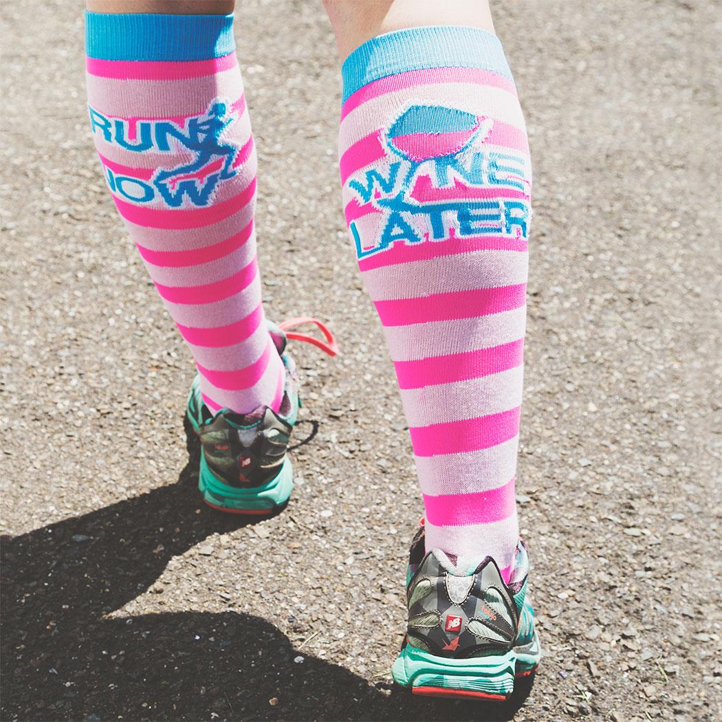 Yakety Yak! Knee Socks - Run Now Wine