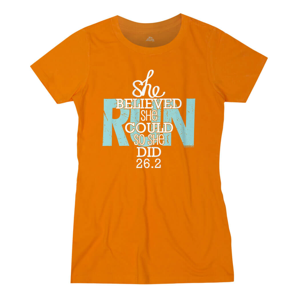 Women's Everyday Runners Tee She Believed She Could So She Did 26.2