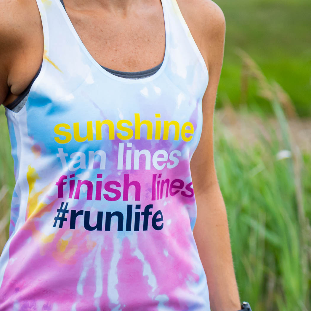 Women's Performance Tank Top - Sunshine Tan Lines Finish Lines Tie-Dye