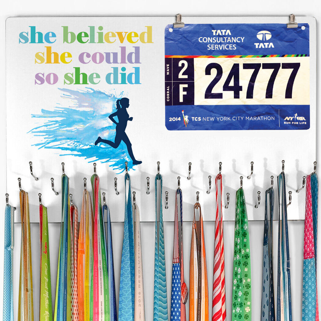 Running Large Hooked on Medals and Bib Hanger - She Believed She Could Silhouette